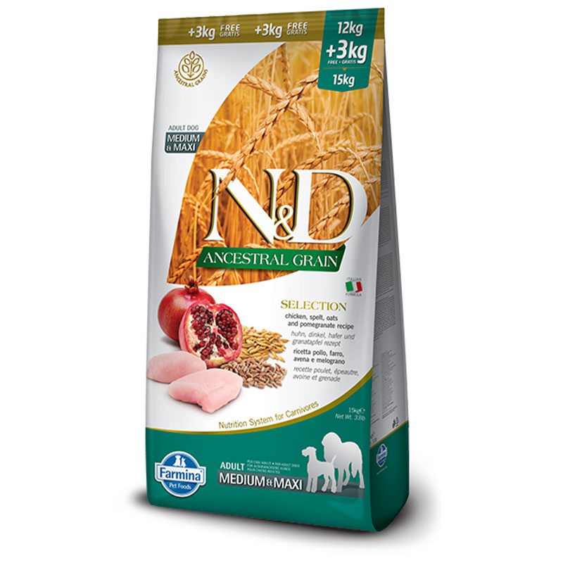 N&D piletina nar adult medium&maxi sa žitaricama SELECTION 15kg
